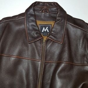 Mens Heavy Duty Vintage Brown Leather Jacket G3 XL